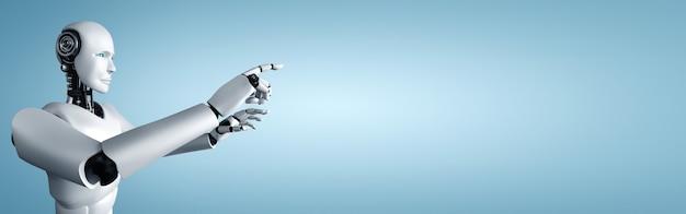 Ai humanoidalny robot dotykający palcem w przestrzeni kopii