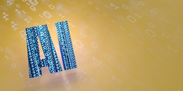 Ai sztuczna inteligencja obraz tła sieć cyfrowa technologia komputerowa ilustracja 3d