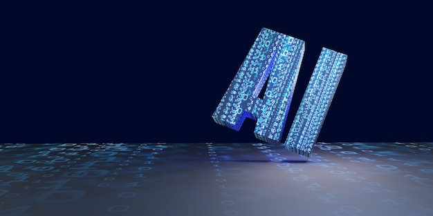 Ai sztuczna inteligencja obraz w tle sieć cyfrowa technologia komputerowa ilustracja 3d