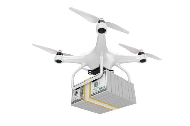 Air drone dostarczanie stosu dolarów pieniędzy rachunki na białym tle. renderowanie 3d