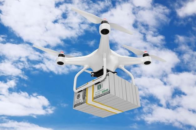 Air drone dostarczanie stosu dolarów pieniędzy rachunki na tle błękitnego nieba. renderowanie 3d
