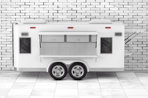 Airstream caravan food truck przed ceglanym murem. renderowanie 3d