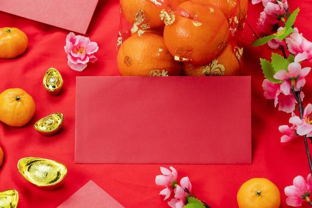 Akcesoria na wakacje z okazji księżycowego nowego roku i chińskiego nowego roku.