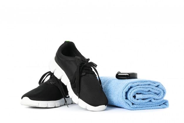Akcesoria zdrowego stylu życia na białym tle