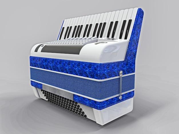 Akordeon niebieski i biały na szarym tle na białym tle. ilustracja 3d.