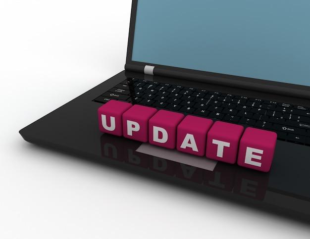 Aktualizacja koncepcji tekstu, kostki z literami na notebooku 3d wytopione ilustracji.