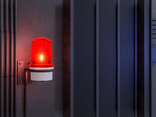 Aktywacja ostrzeżenia czerwonej syreny na tle ściany w stylu loftu przemysłowego renderowania 3d