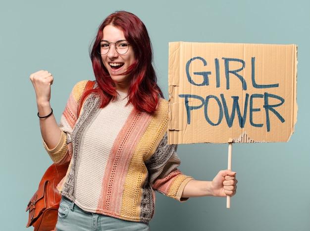 Aktywistka studencka tty. koncepcja mocy dziewczyny