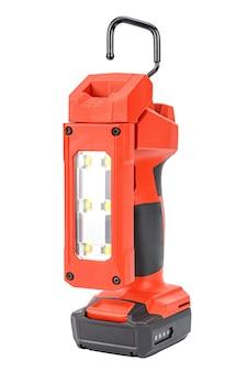Akumulatorowa lampa robocza led 12 v z elastyczną głowicą i wysuwanym haczykiem do oświetlenia bez użycia rąk w czerwono-czarnej obudowie ze wzmocnionego tworzywa sztucznego