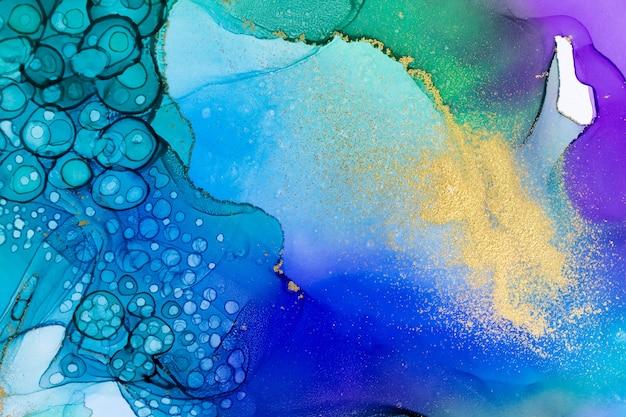Akwamaryn alkohol atrament gradient tekstury streszczenie tło akwarela ze złotym proszkiem