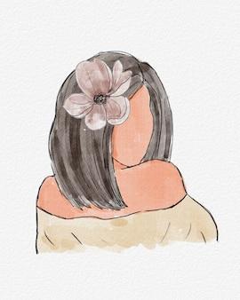 Akwarela abstrakcjonistyczny portret młoda dziewczyna z kwiatem w włosy. akwarela, rysunek