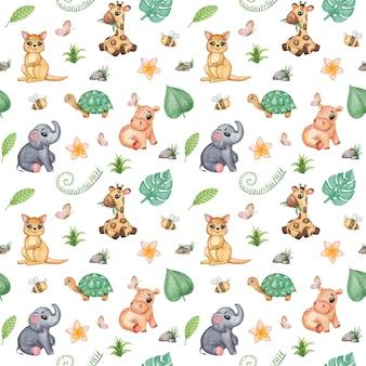 Akwarela afrykańskie zwierzęta wzór. żyrafa, hipopotam, słoń, powtarzający się wzór tropikalny