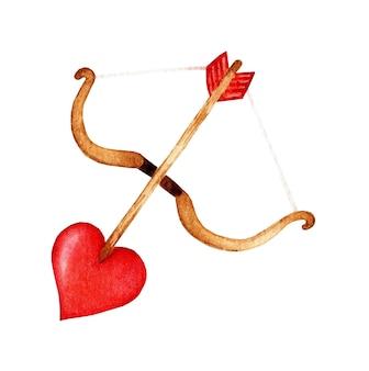 Akwarela amorki łuk i strzały z końcówką w kształcie serca na białym tle