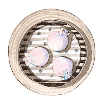 Akwarela azjatyckie jedzenie dim sum, widok z góry