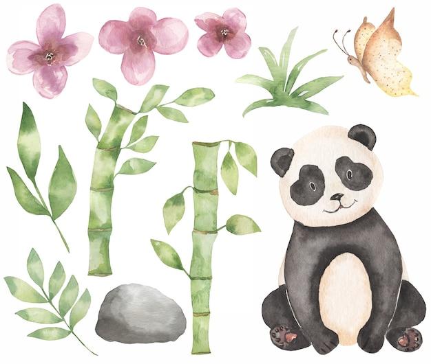 Akwarela baby panda clipart. safari zwierząt, bambusowy bukiet, tropikalny wieniec kwiatów, leśny niedźwiedź clip art, baby shower, przyjęcie urodzinowe dla dzieci