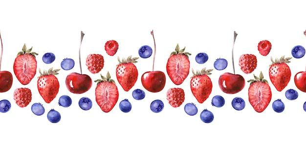 Akwarela bezszwowe granica z różnych babeczek i dojrzałych truskawek, jagód, wiśni i malin
