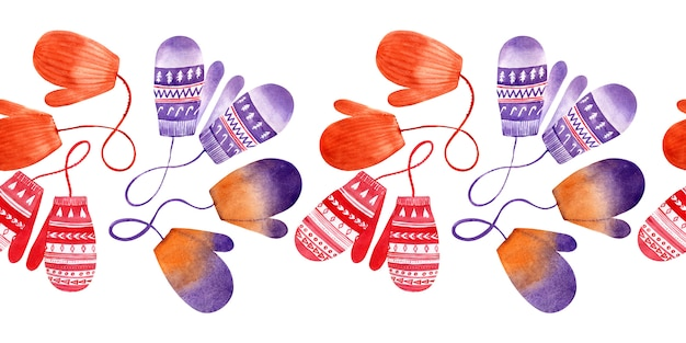 Akwarela bezszwowe granica z zimowe swetry, czapki i rękawiczki. odzież świąteczna
