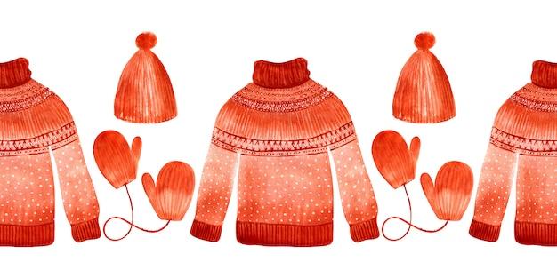 Akwarela bezszwowe granica z zimowe swetry