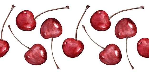 Akwarela bezszwowe granice z dojrzałych wiśni
