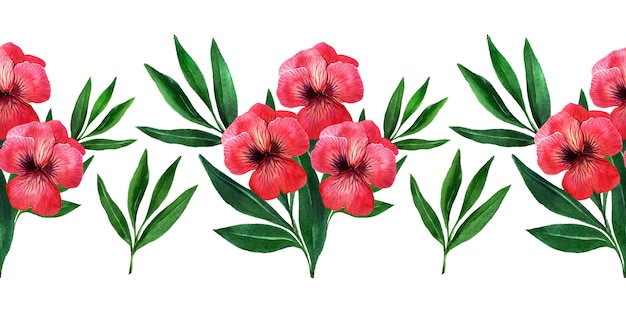 Akwarela bezszwowe granice z wiosennych kwiatów, pąków i gałązek z liśćmi