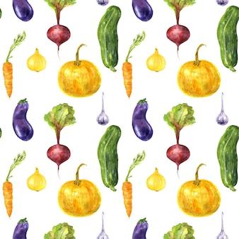 Akwarela bezszwowe pionowy wzór warzyw ogrodowych na białym tle