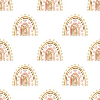 Akwarela bezszwowe tęcze wzór w stylu boho na białym tle