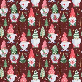 Akwarela bezszwowe tło z uroczymi małymi świątecznymi gnomami w kolorowych zielonych i czerwonych czapkach
