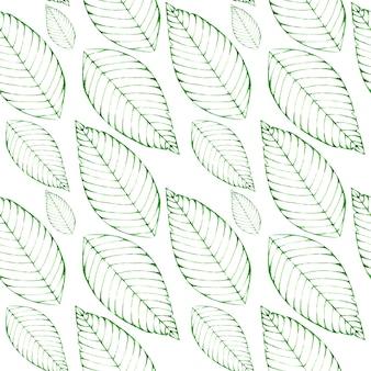 Akwarela bezszwowe tło z zielonymi liśćmi
