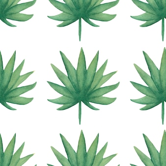Akwarela bezszwowe tropikalny wzór liści. cyfrowy papier do liści. egzotyczny kwiatowy papier do pakowania. liść monstera, liście bananowca zielony papier do scrapbookingu. ręcznie rysowane ilustracji.