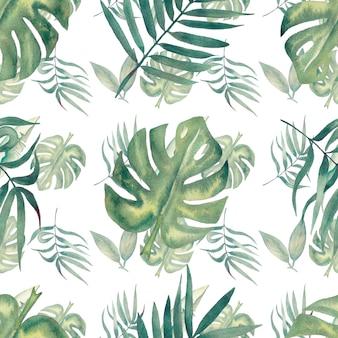 Akwarela bezszwowe tropikalny wzór liści