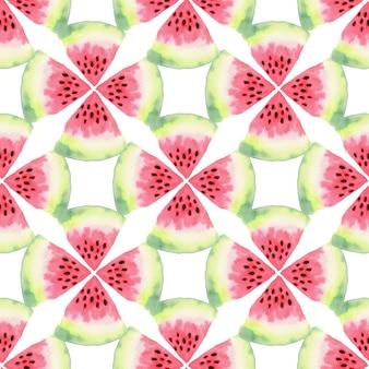 Akwarela bezszwowe wzór arbuza. ilustracja nowoczesnej żywności. projektowanie nadruków tekstylnych