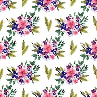 Akwarela bezszwowe wzór dekoracyjny jasne kwiaty