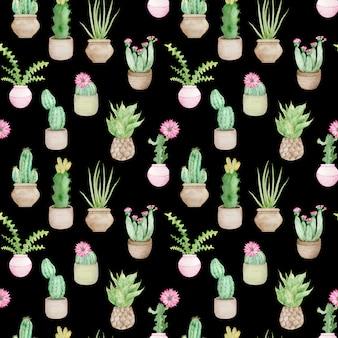 Akwarela bezszwowe wzór doniczkowych kaktusów tropikalnych