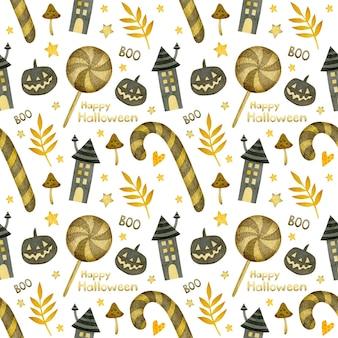 Akwarela bezszwowe wzór happy halloween domy cukierków dyni na białym tle