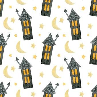 Akwarela bezszwowe wzór happy halloween domy gwiazd miesiąca na białym tle