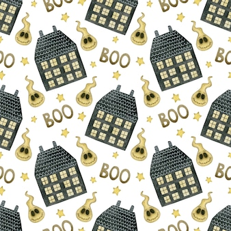 Akwarela bezszwowe wzór happy halloween domy gwiazdy boo duchy na białym tle