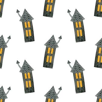 Akwarela bezszwowe wzór happy halloween domy na białym tle