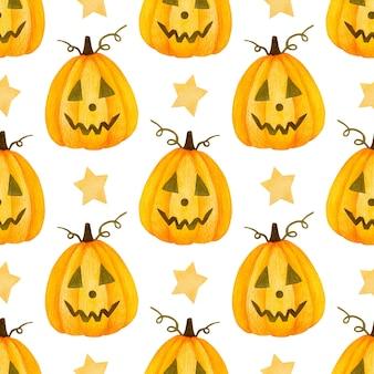 Akwarela bezszwowe wzór happy halloween dynia i gwiazdy na białym tle