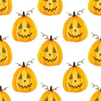 Akwarela bezszwowe wzór happy halloween dynia na białym tle