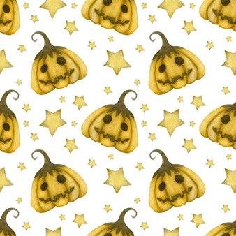 Akwarela bezszwowe wzór happy halloween dynie gwiazdy na białym tle