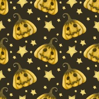Akwarela bezszwowe wzór happy halloween dynie i gwiazdy na brązowym tle