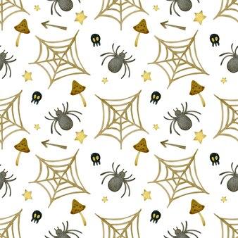 Akwarela bezszwowe wzór happy halloween pająki pajęczyna grzyby na białym tle