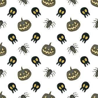 Akwarela bezszwowe wzór happy halloween pająki szkielet dynia na białym tle