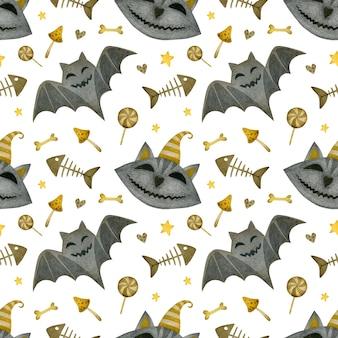 Akwarela bezszwowe wzór happy halloween twarz kota pieczarki nietoperz na białym tle