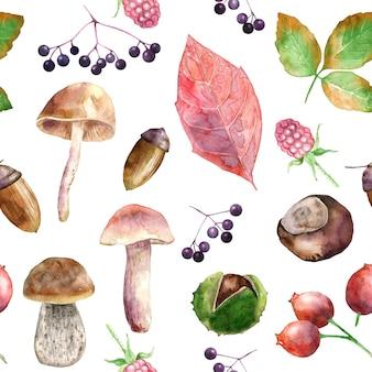 Akwarela bezszwowe wzór jesiennych zbiorów.