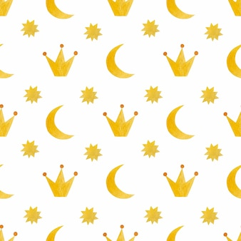 Akwarela bezszwowe wzór księżyca korona gwiazda