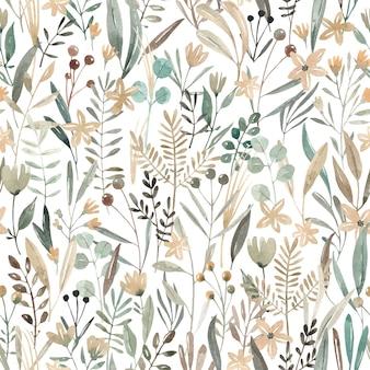 Akwarela bezszwowe wzór kwiaty. pole kwiatów. urocza łąka z różnymi roślinami i kwiatami.
