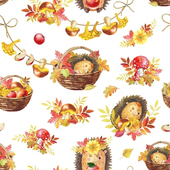 Akwarela bezszwowe wzór. ładny jeż kreskówka akwarela spanie. ilustracja jesień