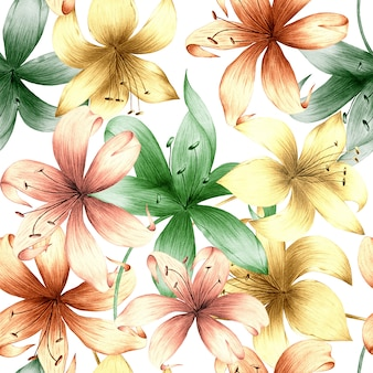 Akwarela bezszwowe wzór letnich kwiatów i liści na jasnym tle.