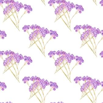 Akwarela bezszwowe wzór letnich kwiatów i liści na jasnym tle
